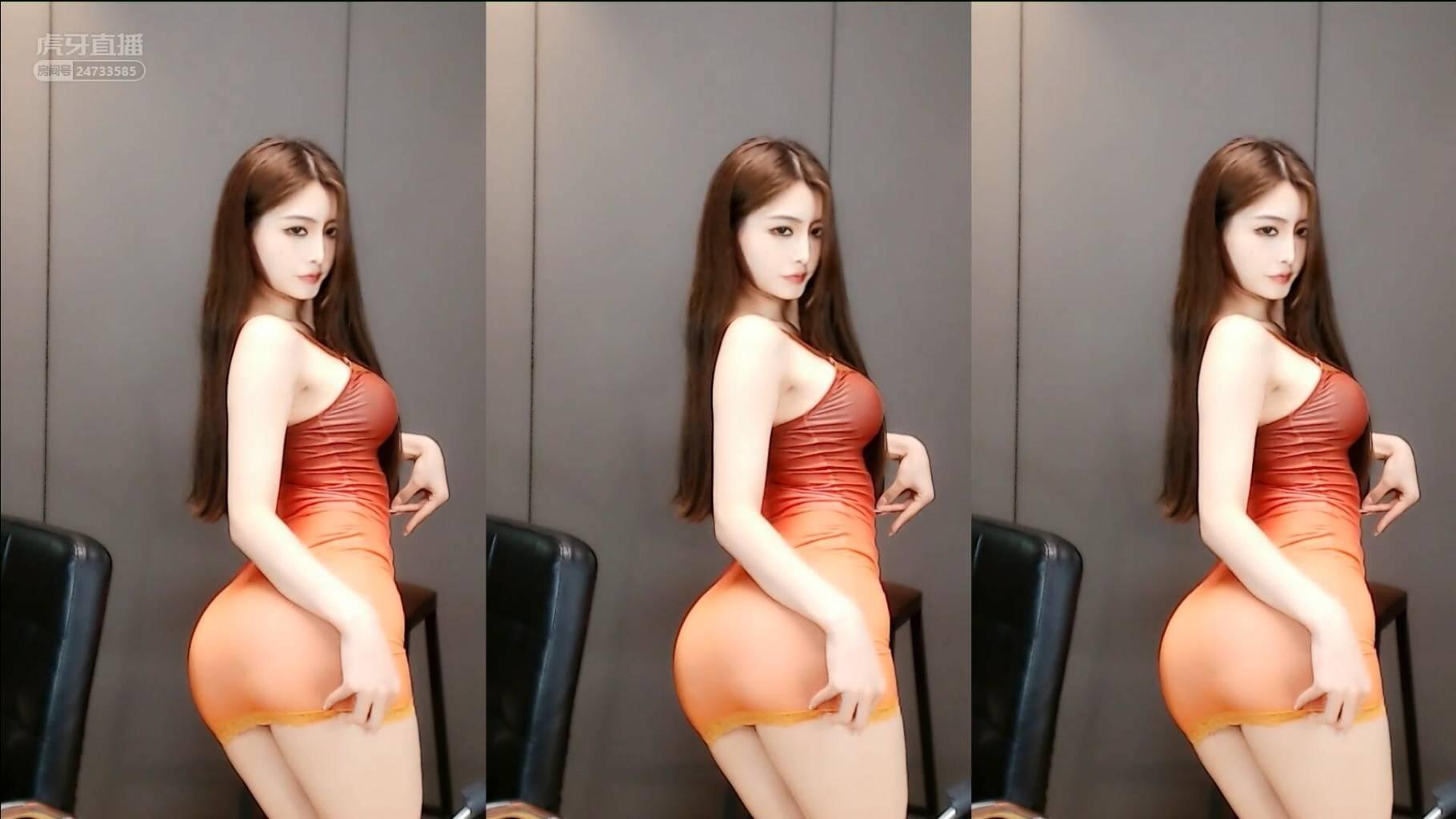 虎牙_晴小兔呢5_27橙色连衣裙哈喽
