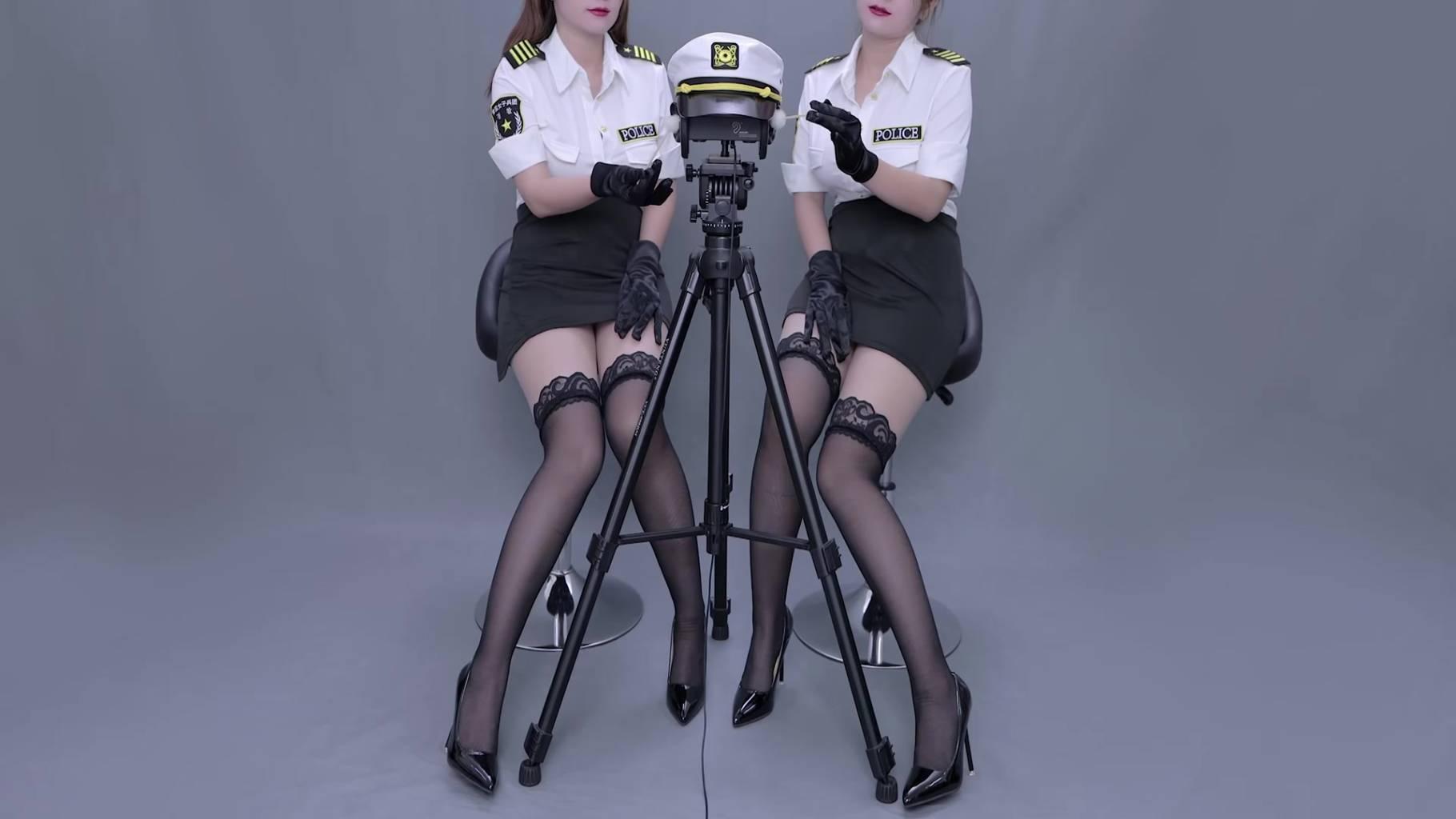 晓晓小UP双人警察制服更新 ASMR油管搬运